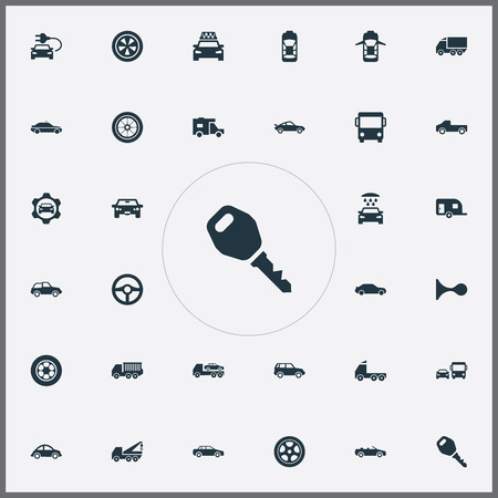 Vector Illustration Set Of Simple Transport Icons. Elements Gear, Cab, Repair And Other Synonyms Electric, Haulage And Carriage.