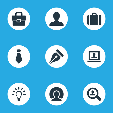 Vector Illustration Set Of Simple Trade Icons. Elements Tie, Magnifier, Human And Other Synonyms Anonymous, Sign And Admin. 向量圖像
