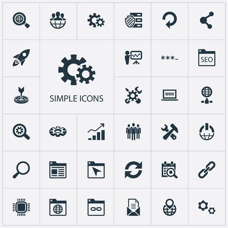 Vector Illustration Set Of Simple Search Icons. Elements Detail, Password, Navigation And Other Synonyms Seek, Mail And Group.