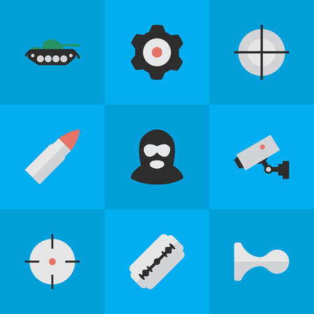 Vector Illustration Set Of Simple Offense Icons. Elements Sniper, Supervision, Criminal And Other Synonyms Burglar, Deer And Blade. Illusztráció