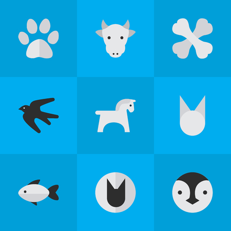 Elements Kine, Tomcat, Skeleton And Other Synonyms Cat, Skeleton And Flightless.  Vector Illustration Set Of Simple Zoo Icons.