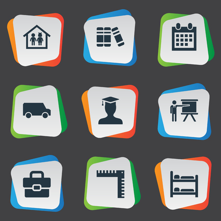 Elements Nursering Furniture, Pedagogue, Geometry And Other Synonyms Document, Bookstore And Handbag.  Vector Illustration Set Of Simple Knowledge Icons. Illustration