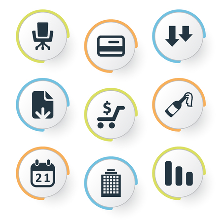 Vector Illustration Set Of Simple Situation Icons. Elements Document Upload, Career, Descending And Other Synonyms Skyscraper, Plastic And Calendar. Illustration
