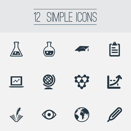 Vector Illustration Set Of Simple Knowledge Icons. Elements Globe, Internet Research, Graduation Hat And Other Synonyms Graduation, History And Increase. Illustration