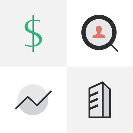 Illustration vectorielle définie des icônes de tâches simples. Diagramme des éléments, dollar, appartement et autres synonyme, croissance et moteur. Banque d'images - 83772671