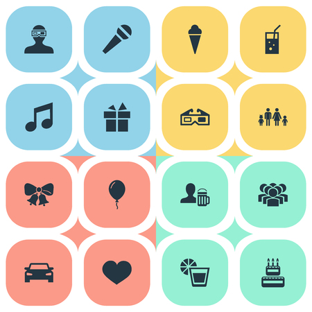 Vector Illustration Set Of Simple Celebration Icons. Elements Mike, Birthday Pie, Present And Other Synonyms Cake, Balloon And Bells.
