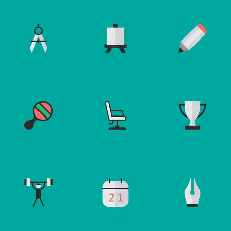 Elements Armchair, Goblet, Bodybuilding And Other Synonyms Measurement, Compass And Pong.  Vector Illustration Set Of Simple Education Icons.