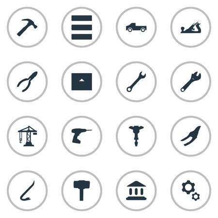 Elementenhamer, snoeischaar, transport en andere synoniemen timmerwerk, zaag en museum. Vector illustratie Set van eenvoudige bouw-iconen.
