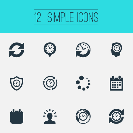 Elements Loading, Global Time, Term And Other Synonyms Loading, Administrator And Planner.  Vector Illustration Set Of Simple Administration Icons. Stok Fotoğraf - 83746075