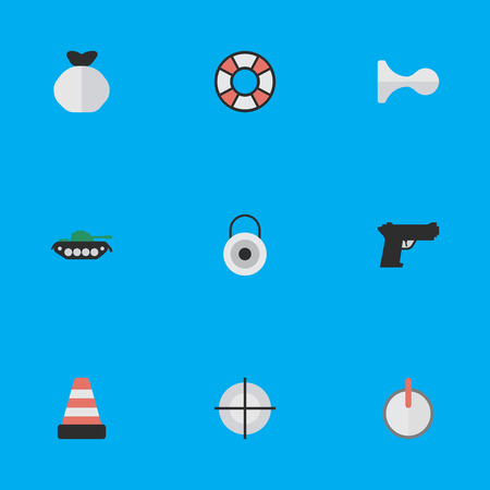 Elements Military, Isolated, Weapon And Other Synonyms Lifeguard, Money And Lifesaver.  Vector Illustration Set Of Simple Criminal Icons.