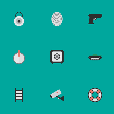 fingermark: Elements Safe, Supervision, Lock And Other Synonyms Safe, Close And Weapon.  Vector Illustration Set Of Simple Offense Icons. Illustration