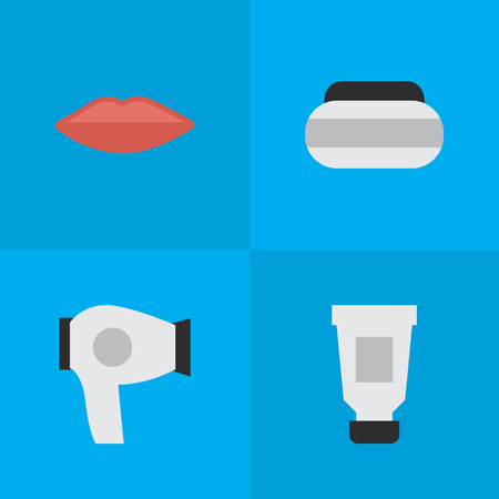 Elements Lips, Toothpaste, Jar And Other Synonyms Bottle, Kiss And Hairdryer.  Vector Illustration Set Of Simple Elegance Icons. Illustration