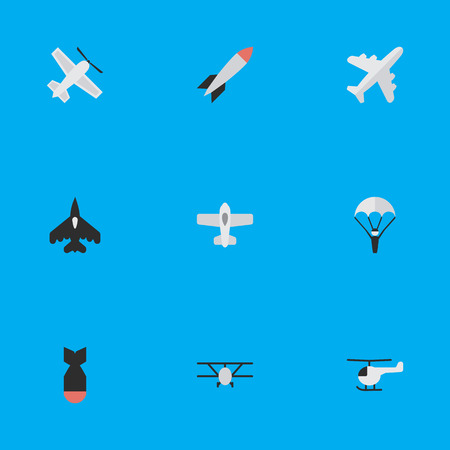 Elements Airplane, Plane, Rocket And Other Synonyms Dynamite, Vehicle And Bomb.  Vector Illustration Set Of Simple Airplane Icons. Illustration
