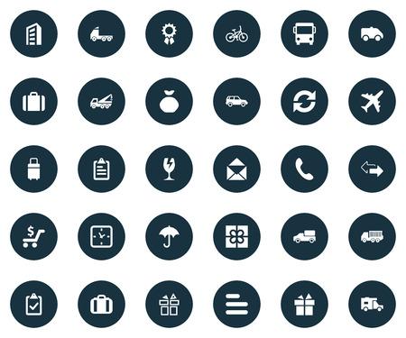 Elementen Klembord, Handset, Reiskoffer Synoniemen Fiets, Bus En Verzending. Vector Illustratie Set Van Eenvoudige Handing Icons. Stock Illustratie