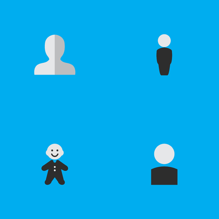Vector Illustration Set Of Simple Avatar Icons. Elements Guy, Avatar, Person And Other Synonyms Shape, Human And Profile. Ilustrace