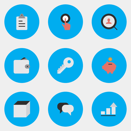 Vector Illustration Set Of Simple Job Icons. Elements Finger Touching, Talking, Square And Other Synonyms Conversation, Purse And Touching. Illusztráció