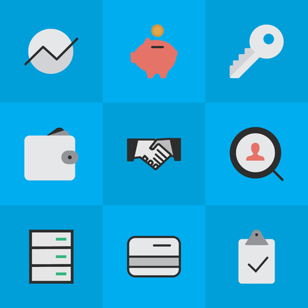 Vector Illustration Set Of Simple Trade Icons. Elements Purse, Agreement, Pay And Other Synonyms Mark, Pay And Handshake.