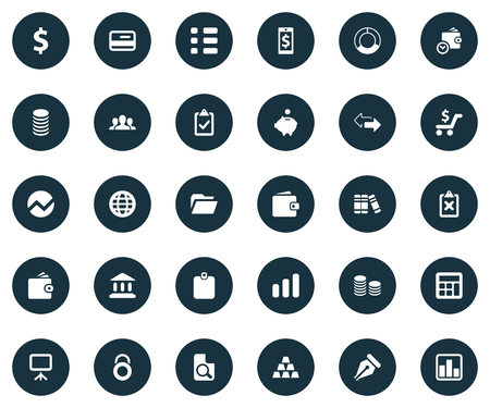 Vector Illustration Set Of Simple Finance Icons. Elements Supervision List, Authentication, Growing Sales And Other Synonyms Discount, Bullion And Whiteboard. Illustration