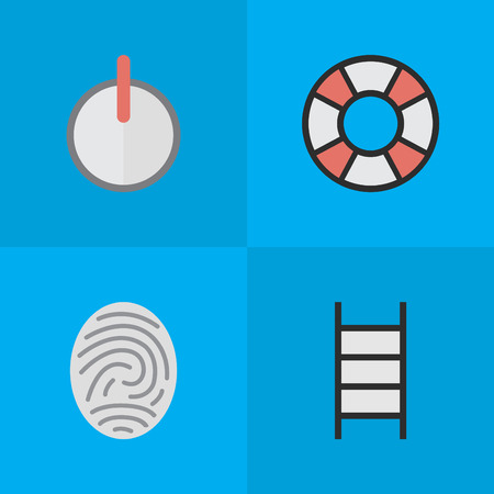Vector Illustration Set Of Simple Crime Icons. Elements Lifesaver, Safe, Stairs And Other Synonyms Safe, Stairs And Lock. Illustration