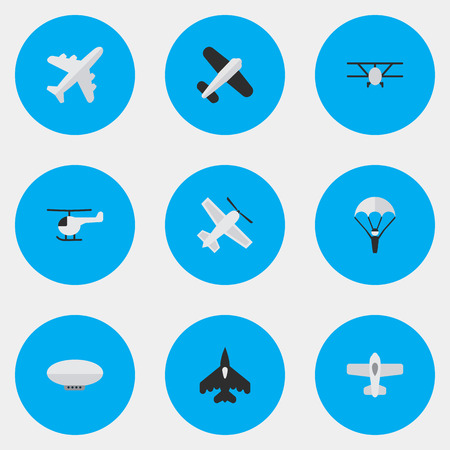 Vector Illustration Set Of Simple Airplane Icons. Elements Aviation, Balloons, Flying Vehicle And Other Synonyms Copter, Balloons And Airship. Illustration