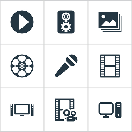 Vector illustratie Set van eenvoudige pictogrammen. Elements PC, afbeelding, film en andere synoniemen Karaoke, Home And Filmstrip. Stock Illustratie