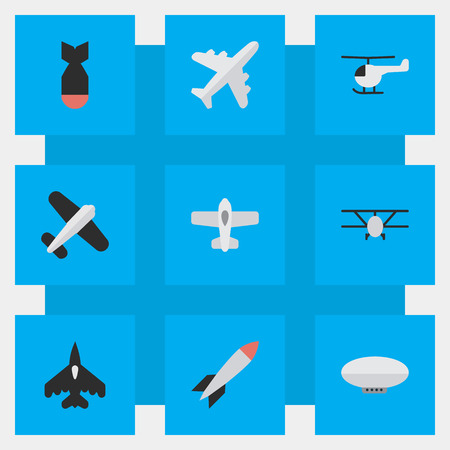 Vector Illustration Set Of Simple Plane Icons. Elements Airplane, Aviation, Plane And Other Synonyms Aircraft, Chopper And Copter.