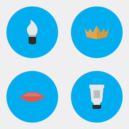 Vector Illustration Set Of Simple Elegance Icons. Elements Toothpaste, Scrub, Lips And Other Synonyms Crown, Toothpaste And Queen.
