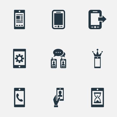 Vector illustratie Set van eenvoudige telefoon pictogrammen. Elementen reparatie, wachten, ontbrekende ring en andere synoniemen-tablet, media en instellingen. Stock Illustratie
