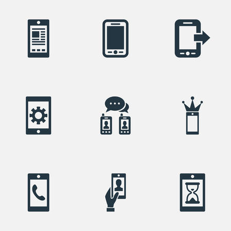 Vector Illustration Set Of Simple Telephone Icons. Elements Repair, Waiting, Missing Ring And Other Synonyms Tablet, Media And Settings.