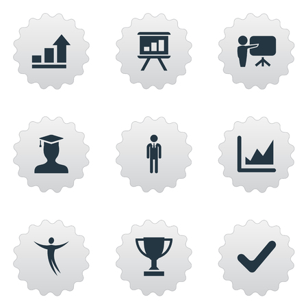 Vector Illustration Set Of Simple Winner Icons. Elements Board, Growth, Worker And Other Synonyms Correct, Diagram And Check.