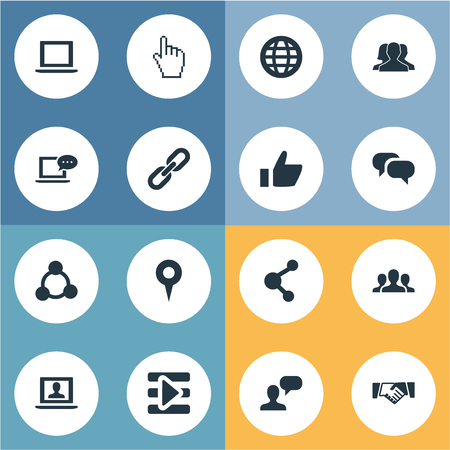 Vector Illustration Set Of Simple Internet Icons. Elements Cursor, Chatting, Chat And Other Synonyms Chain, Control And Vote.