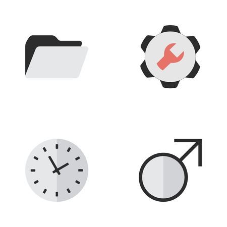 Vector Illustration Set Of Simple UI Icons. Elements Mars Sign, File, Settings And Other Synonyms Man, Time And Settings.