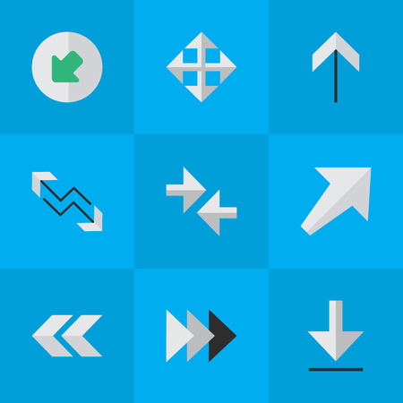 declining: Vector Illustration Set Of Simple Cursor Icons. Elements Onward, Arrow, Loading And Other Synonyms Widen, Up And Northwestward.