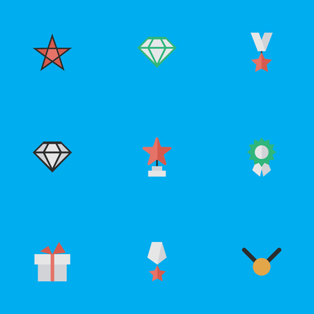 Vector Illustration Set Of Simple Awards Icons. Elements Star, Trophy, Gemstone And Other Synonyms Award, Brilliant And Star.