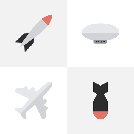 Vector Illustration Set Of Simple Plane Icons. Elements Rocket, Bomb, Balloons And Other Synonyms Plane, Craft And Bomb.