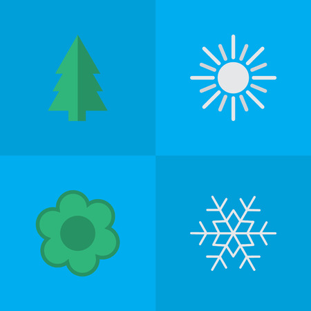 Vector Illustration Set Of Simple Garden Icons. Elements Flake Of Snow, Flower, Tree And Other Synonyms Snow, Sun And Flower. Illustration