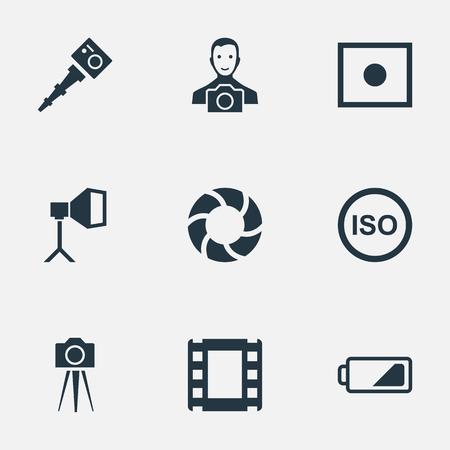 벡터 일러스트 레이 션 간단한 사진 아이콘의 집합입니다. 요소 필름 스트립, 캠코더, 에너지 및 기타 동의어 캠코더, 스트립 및 빛. 일러스트
