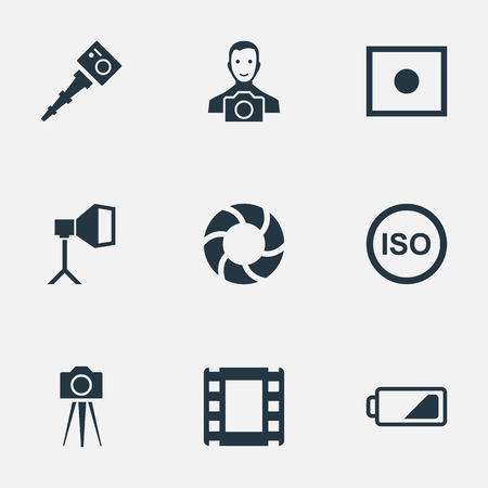 Vector Illustration Set Of Simple Photograph Icons. Elements Film Strip, Camcorder, Energy And Other Synonyms Camcorder, Strip And Light. Illustration