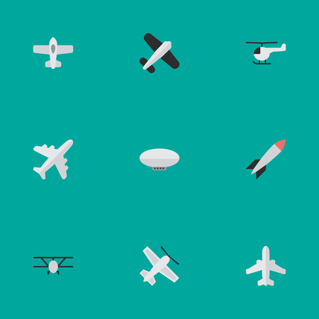 Vector Illustration Set Of Simple Airplane Icons. Elements Airliner, Craft, Airplane And Other Synonyms Copter, Balloons And Vehicle.