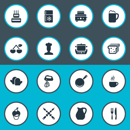 Vector Illustration Set Of Simple Gastronomy Icons. Elements Delicious Fruits, Stir, Stew-Pot And Other Synonyms Pub, Bbq And Toaster. Illusztráció