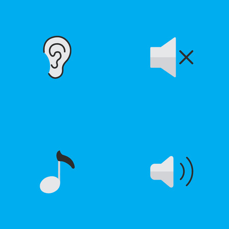 Vector Illustration Set Of Simple Music Icons. Elements Volume, Note, Listen And Other Synonyms Sound, Volume And Music.