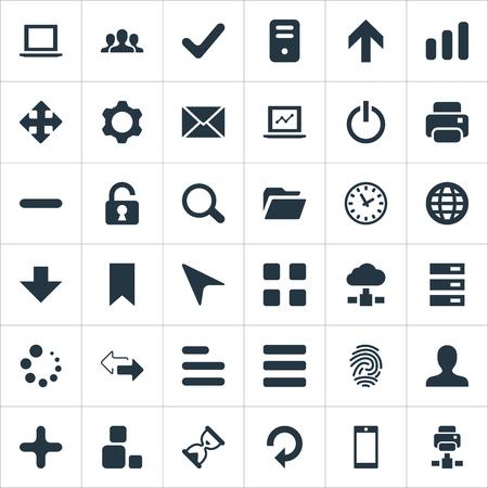 Vector illustratie Set van eenvoudige Apps iconen. Elementen vernieuwen, Notebook, horloge en andere synoniemenknoop, uitnodiging en afdruk.
