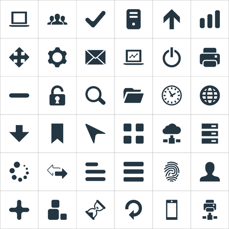 Vector Illustration Set Of Simple Apps Icons. Elements Refresh, Notebook, Watch And Other Synonyms Button, Invitation And Printout.