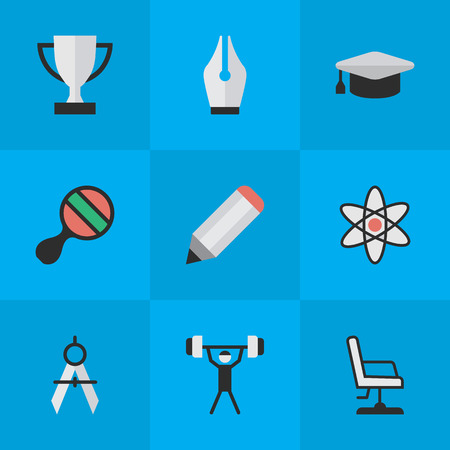 Vector Illustration Set Of Simple Knowledge Icons. Elements Nib, Academic Hat, Bodybuilding And Other Synonyms Championship, Molecule And Pong.