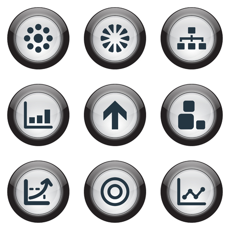 Vector Illustration Set Of Simple Graph Icons. Elements Surge, Unit, Hierarchy And Other Synonyms Direction, Segment And Chart.