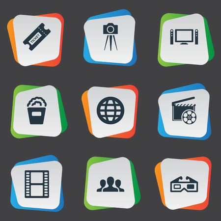 Vector Illustration Set Of Simple Movie Icons. Elements Production, Snack, Viewers And Other Synonyms Filmstrip, International And Production.