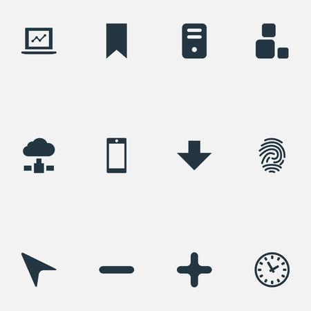Vector Illustration Set Of Simple Application Icons. Elements Computer Case, Fingerprint, Watch And Other Synonyms Computer, Fingerprint And Plus.
