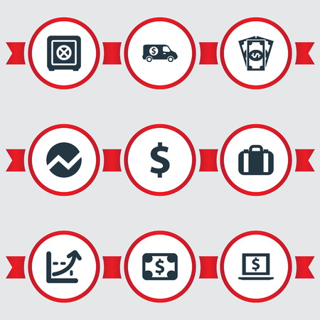 Vector Illustration Set Of Simple Money Icons. Elements Statistic, Currency, Portfolio And Other Synonyms Portfolio, Symbol And Briefcase.