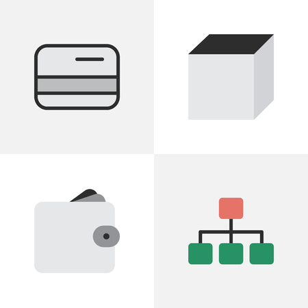 Vector Illustration Set Of Simple Business Icons. Elements Square, Purse, Structure And Other Synonyms Square, Graph And Structure.