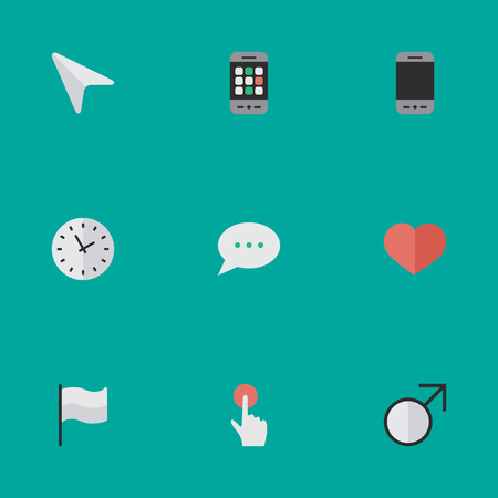 Vector Illustration Set Of Simple Interface Icons. Elements Switch Knob, Time, Flag And Other Synonyms Smartphone, Flag And Pointer. Illustration